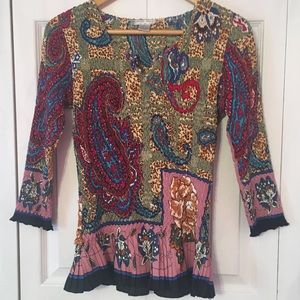 {ALBERTO MAKALI} Colorful Textured Sequin Shirt L